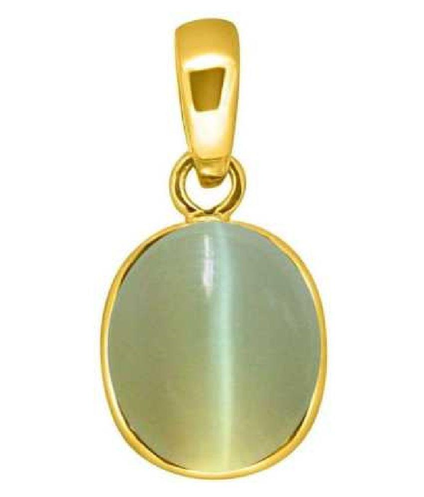 RATAN BAZAAR - Cats eye 5.25 carat Stone Pendant Natural Cats Eye stone Certified & Astrological purpose for men & women Gold-plated Cat's Eye Stone Pendant