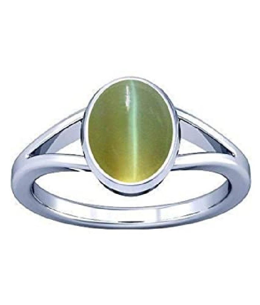 Natural 9.5 carat Cat's Eye Stone Silver Ring by  Ratan Bazaar\n