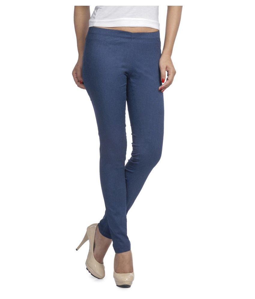 Femmora Cotton Lycra Tights - Blue