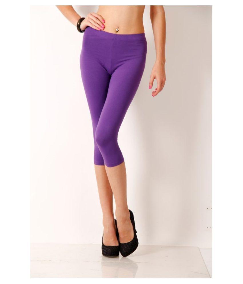 Femmora Cotton Lycra Tights - Purple