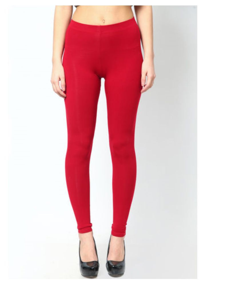 Femmora Cotton Lycra Tights - Red
