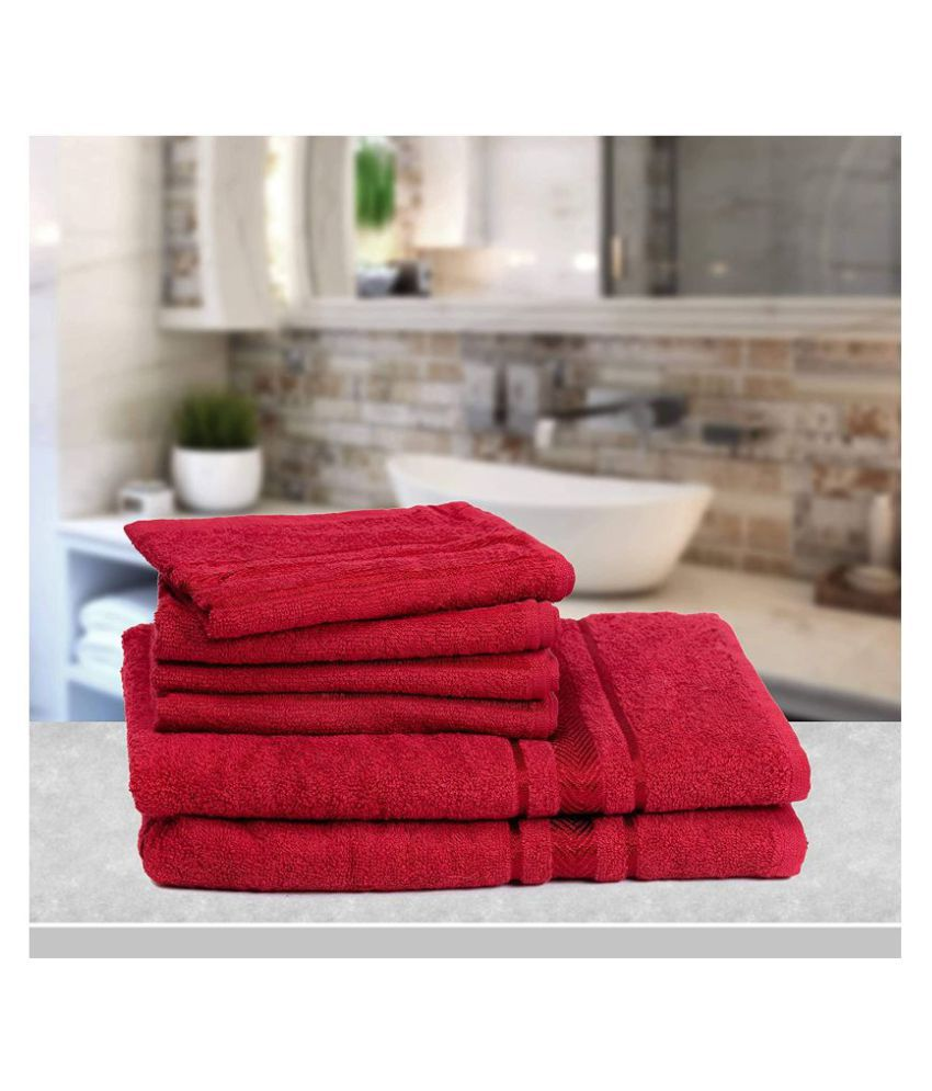 Vataso Set of 6 Cotton Bath & Hand Towel Set Red