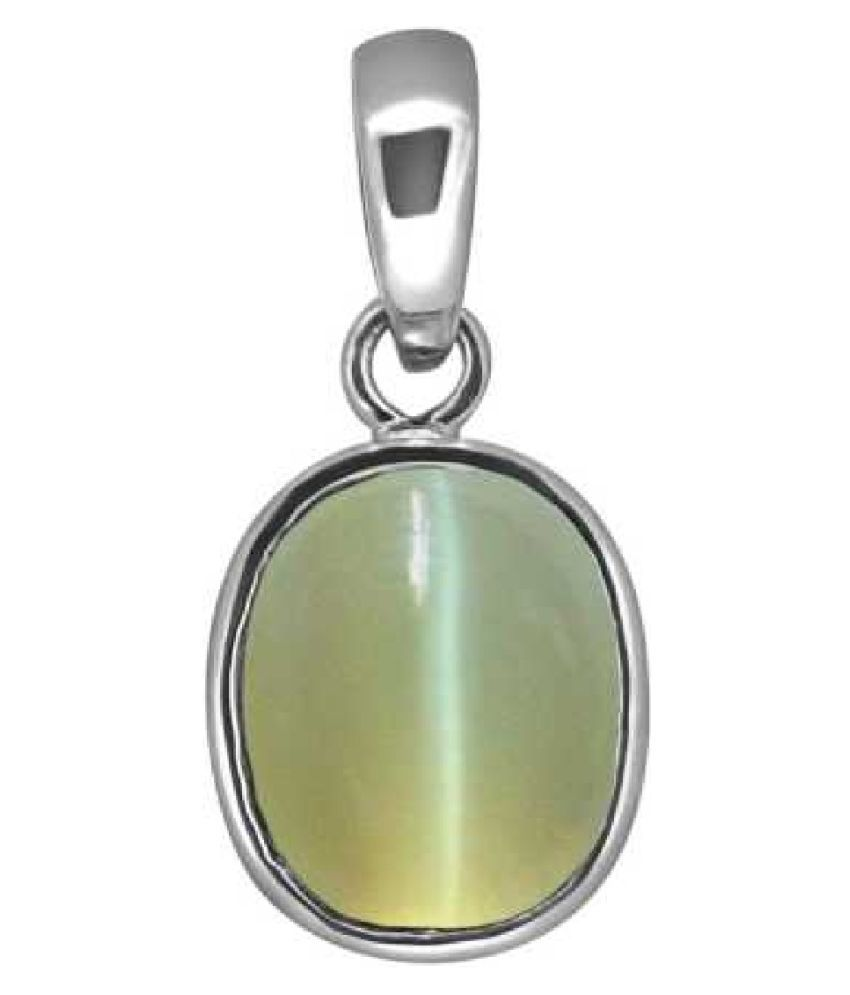 6 ratti Cats eye Stone Pendant Natural Cats Eye stone Certified & Astrological purpose for men & women Sterling Silver Cat's Eye Stone Pendant by RATAN BAZAAR