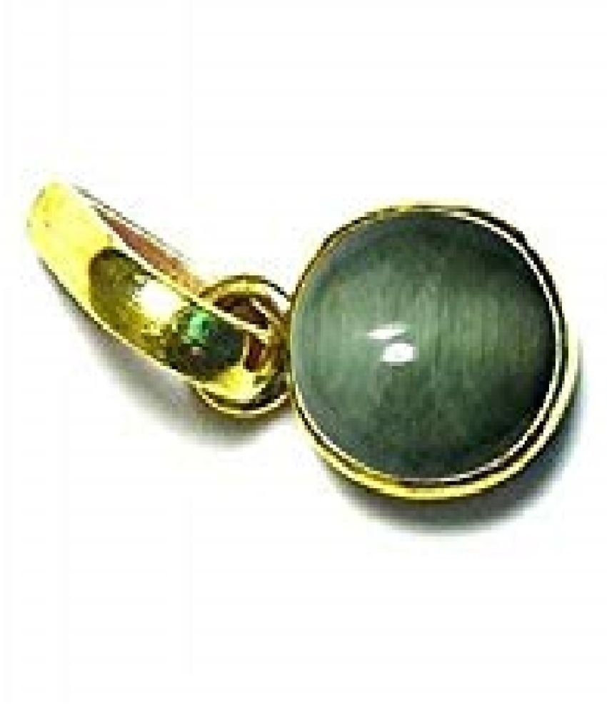 RATAN BAZAAR - 5.5 Ratti Cats Eye Pendent Ashthadhatu with Gold Plated For Men & Women… Gold-plated Cat's Eye Copper  Pendant