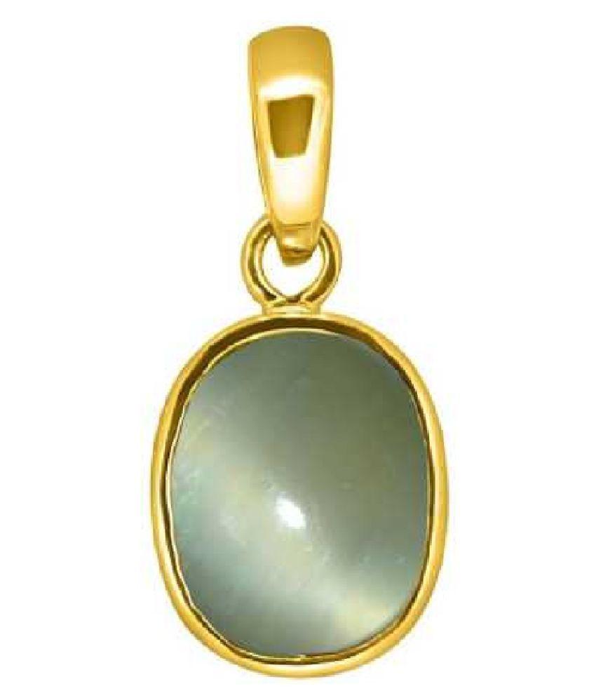 RATAN BAZAAR - 6 Ratti Cat's Eye Gemstone in Panchdhatu Gold-plated Cat's Eye   Stone Pendant
