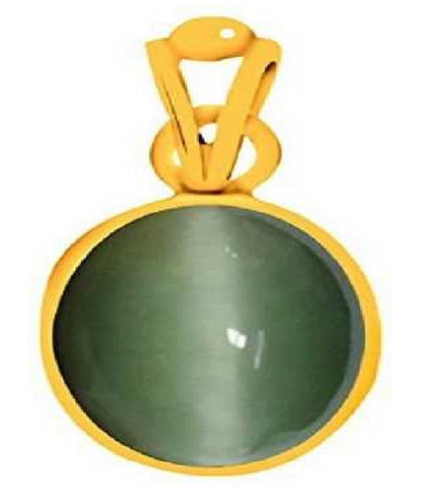 7 Ratti Cats Eye Pendent Ashthadhatu with Gold Plated For Men & Women… Gold-plated Cat's Eye  Pendant by RATAN BAZAAR