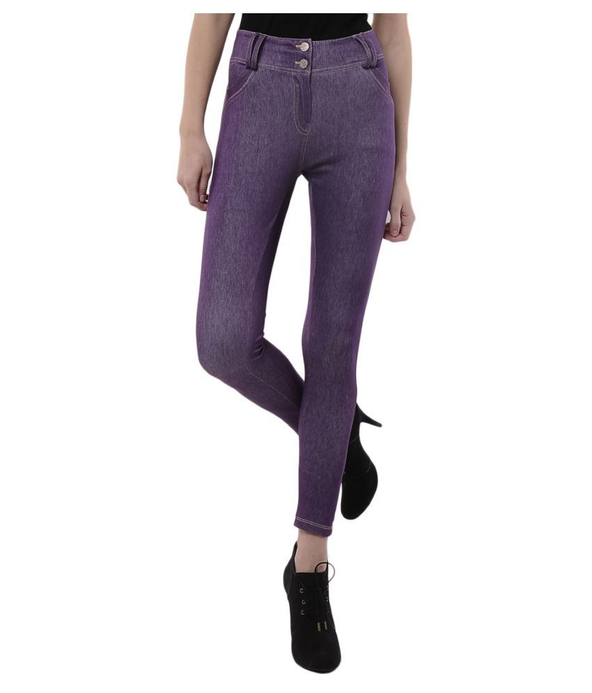 Femmora Cotton Lycra Tights - Purple