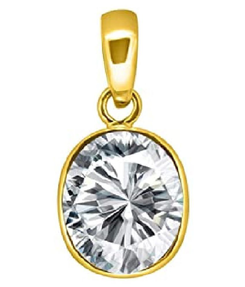 Natural  Gold Plated 9 Ratti Zircon Pendant for unisex by KUNDLI GEMS\n