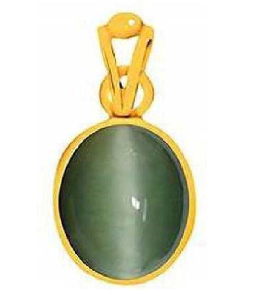RATAN BAZAAR - Cats eye Stone Pendant Natural 6.25 carat stone Cats Eye stone Certified & Astrological purpose for men & women Gold-plated Cat's Eye Stone Pendant