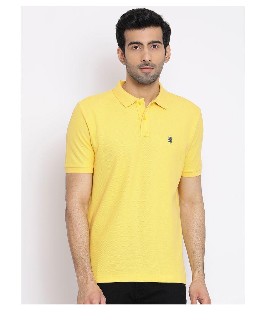 Red Tape 100 Percent Cotton Yellow Plain Polo T Shirt