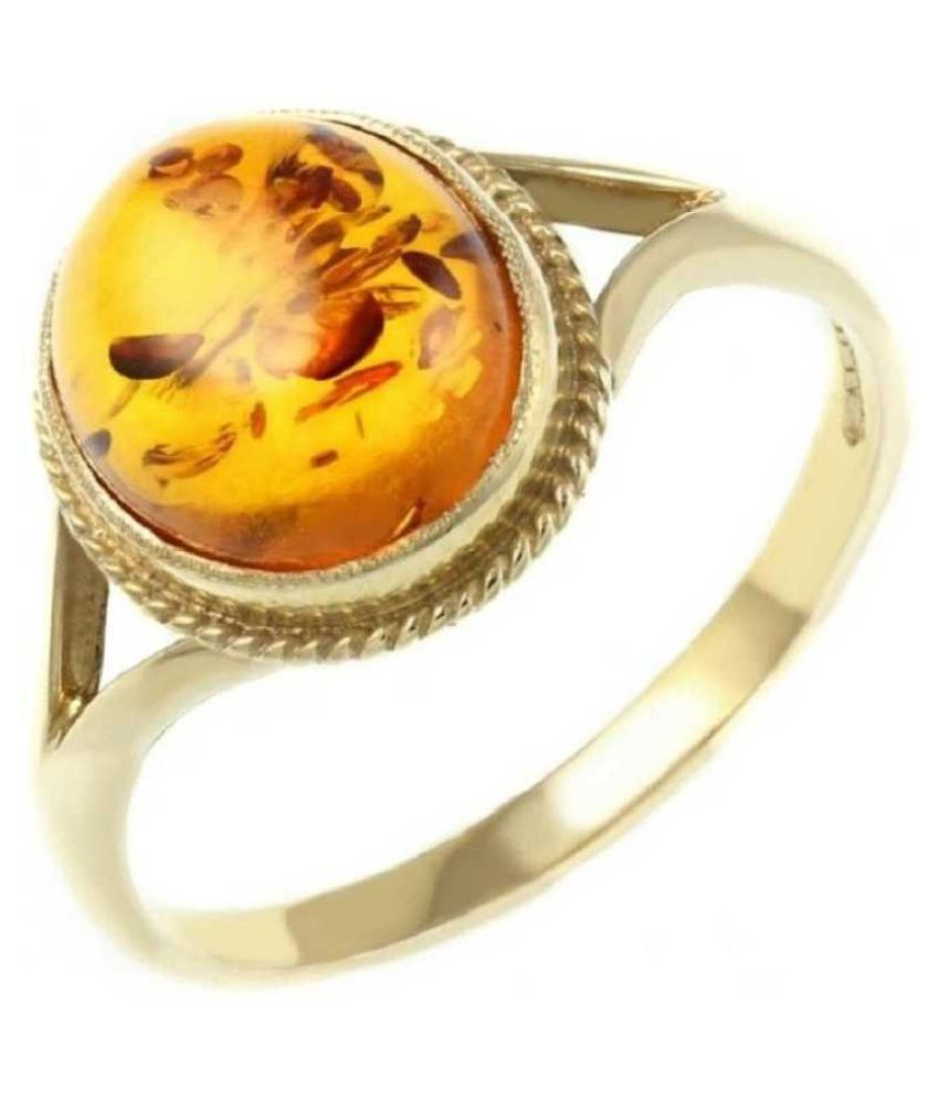 6 Ratti Amber RING(Anguthi)Natural  GOLD PLATED Stone RING(Anguthi)by Ratan Bazaar