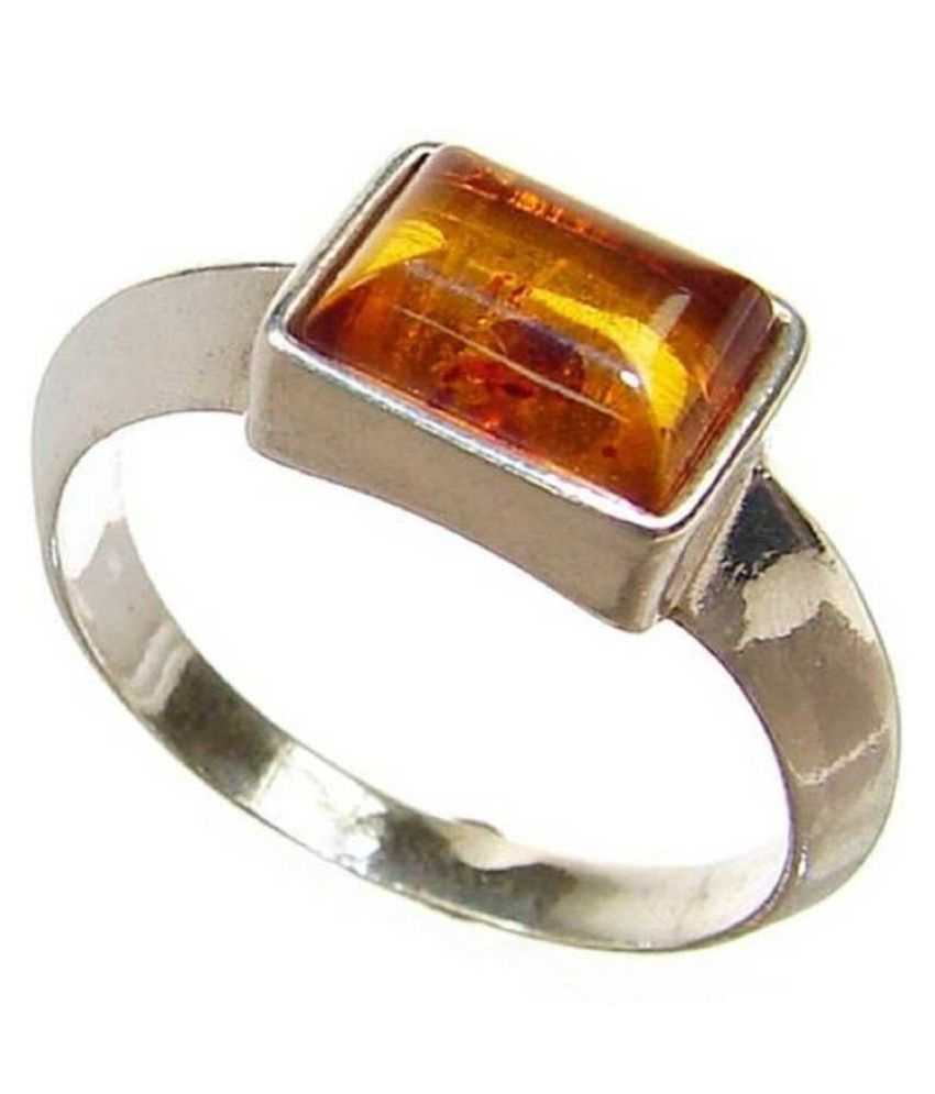 6 Ratti Amber RING(Anguthi) with Natural silver Amber Stone by Ratan Bazaar