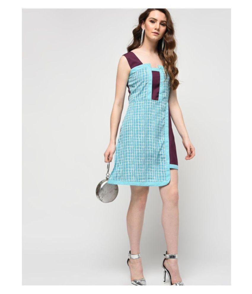 COLOR BLOCK Crepe Blue A- line Dress