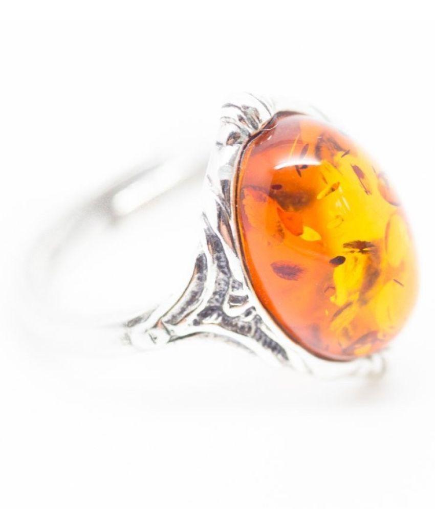 RING(Anguthi) 5.5 ratti Natural Amber Silver RING(Anguthi) by Ratan Bazaar