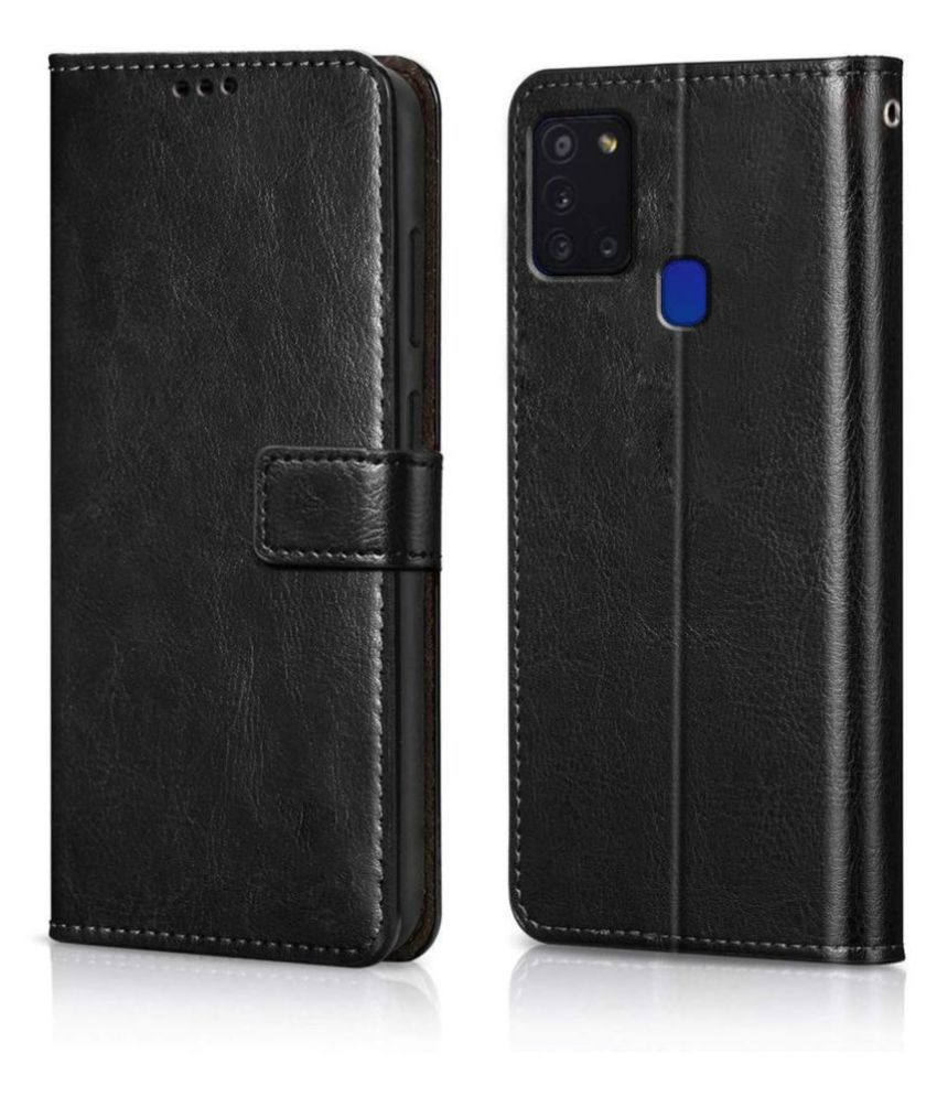 Samsung Galaxy A21S Flip Cover by Prem Brothers - Brown premium quality