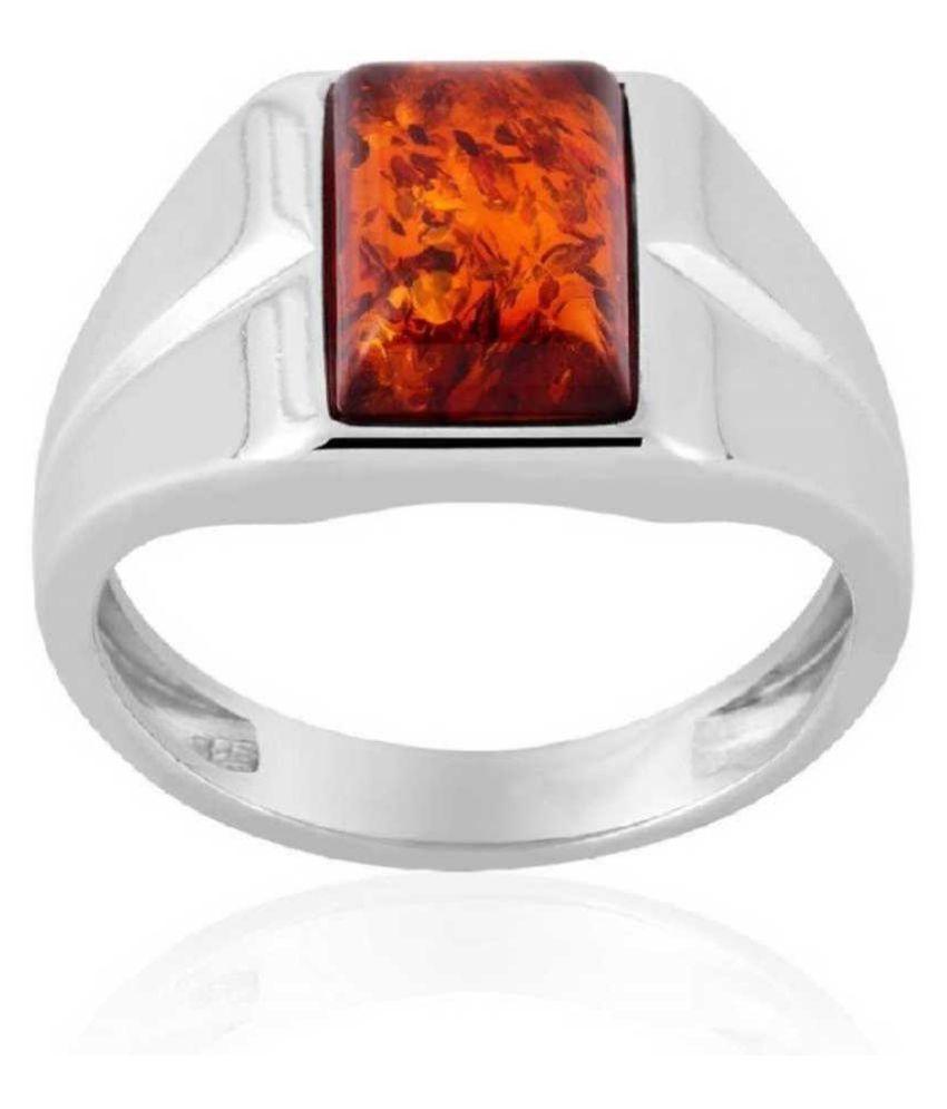Silver Amber Stone RING(Anguthi) 6.5 carat by  Ratan Bazaar