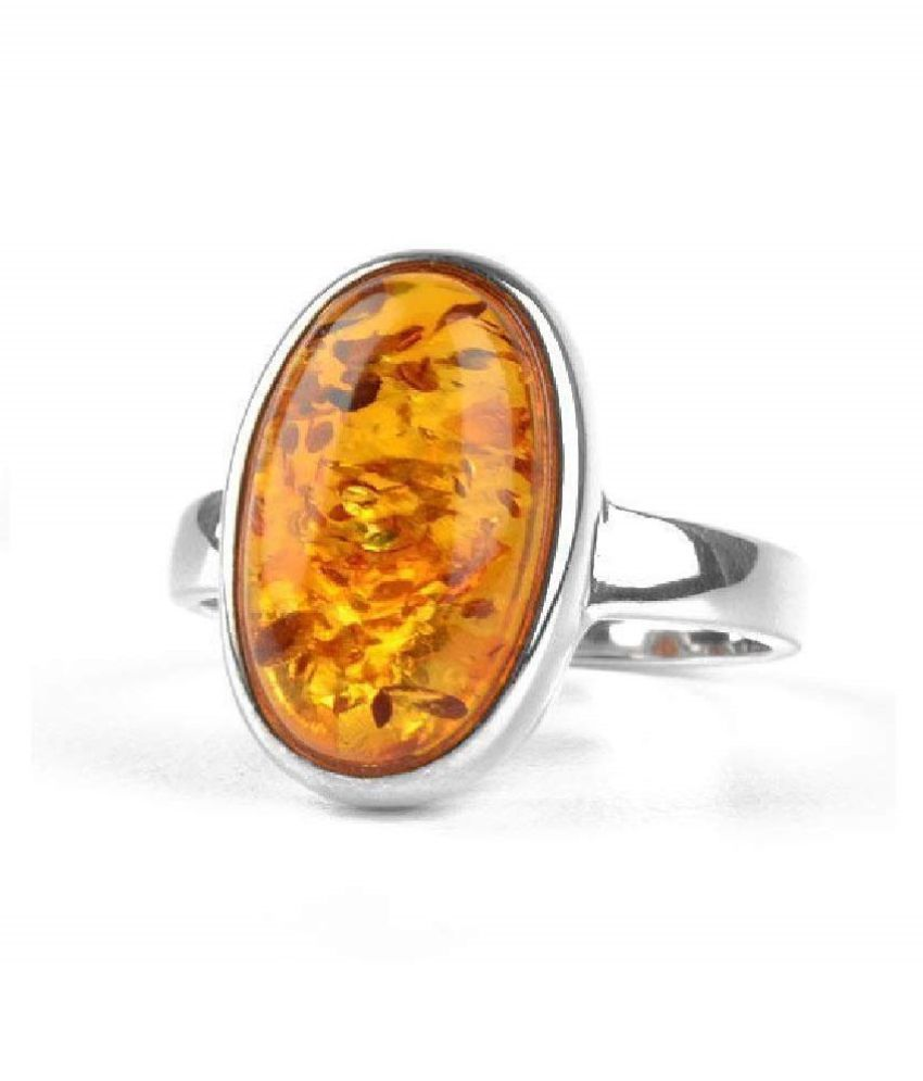 6.5 Carat  Amber RING(Anguthi) with lab Report Silver Amber Stone by Ratan Bazaar