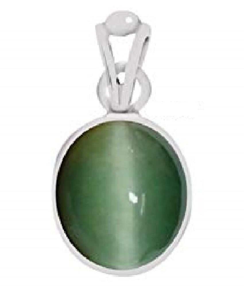 7.5 ratti Cats eye Stone Pendant Natural Cats Eye stone Certified & Astrological purpose for men & women Silver Cat's Eye Stone Pendant by RATAN BAZAAR