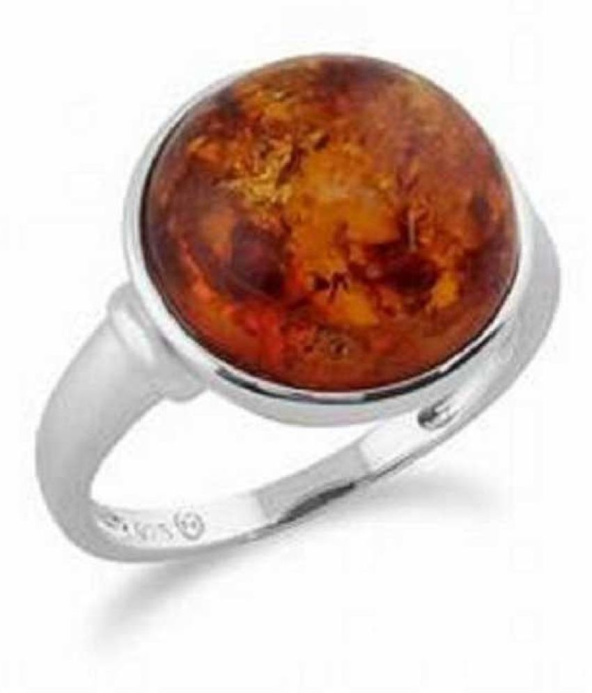 8.25 Carat Stone Amber Silver RING(Anguthi) for unisex by Ratan Bazaar\n