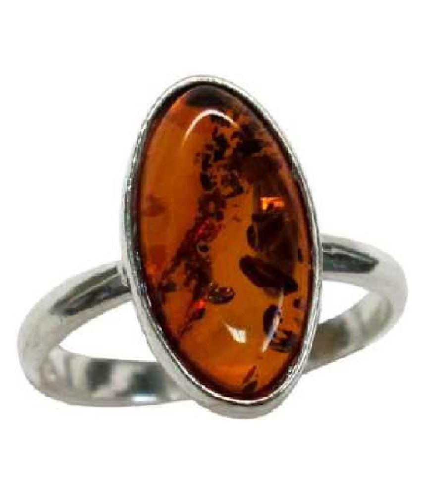 8 ratti Natural  Amber Stone silver RING(Anguthi)for Astrological Purpose  RING(Anguthi) by Ratan Bazaar
