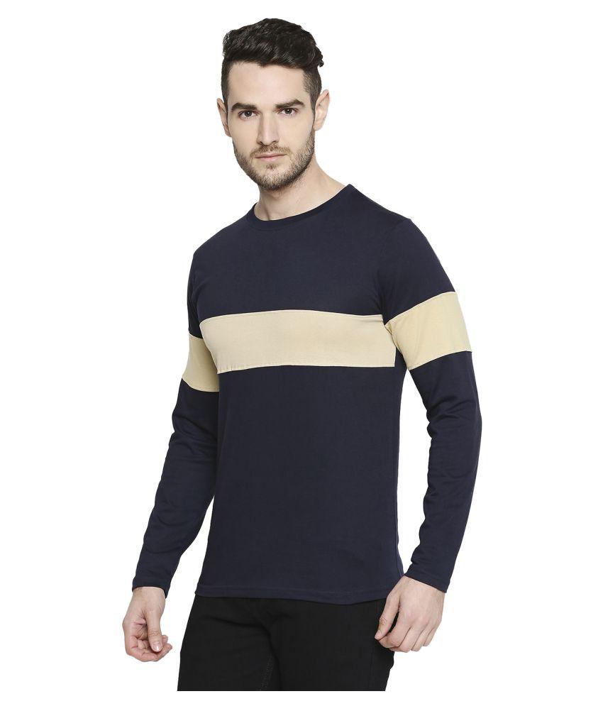 Jhankhi 100 Percent Cotton Blue Color Block T-Shirt