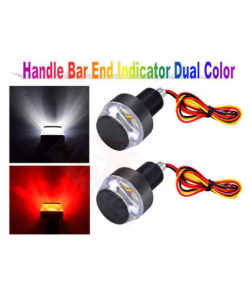 Motorcycle Turn Signal LED Light Indicator Dual Color Bike Handle Bar End (Set of 2, Yellow & White)