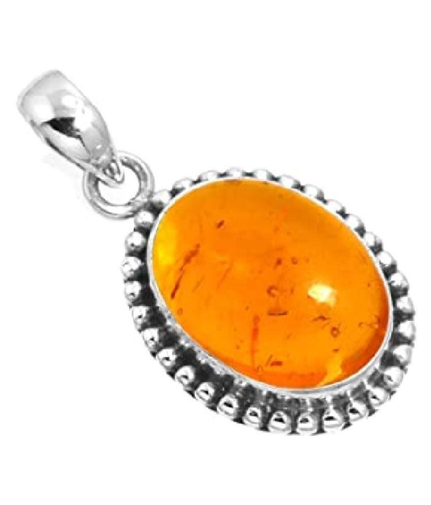 Natural Lab Certified 6 carat 100% Original Amber Pendant for unisex by Ratan Bazaar\n