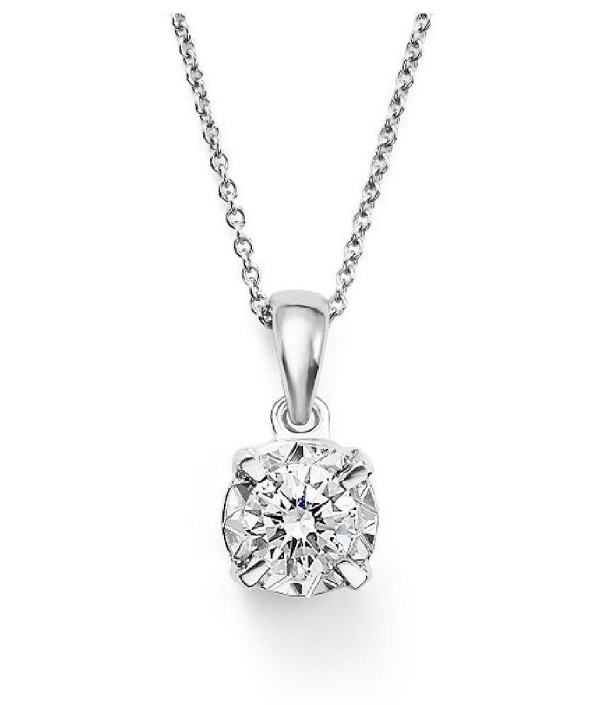 Natural Lab Certified  Original American Diamond  Silver Pendant for unisex by Ratan Bazaar\n