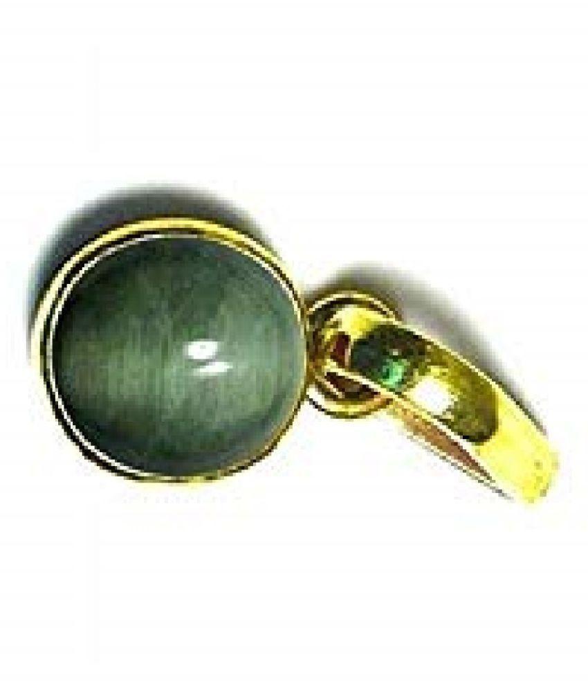 RATAN BAZAAR - Cats eye Stone Pendant Natural 7.5 carat stone Cats Eye stone Certified & Astrological purpose for men & women Gold-plated Cat's Eye Stone Pendant