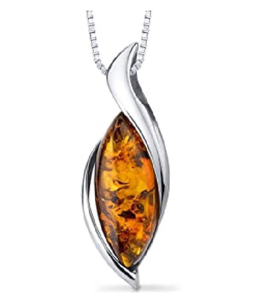 Sterling Silver 8.25 Carat Classic Amber Pendant by Ratan Bazaar