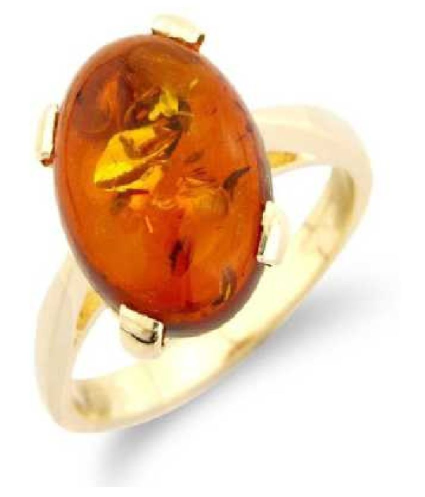 5 carat pure  Amber GOLD PLATED RING(Anguthi)by  KUNDLI GEMS\n