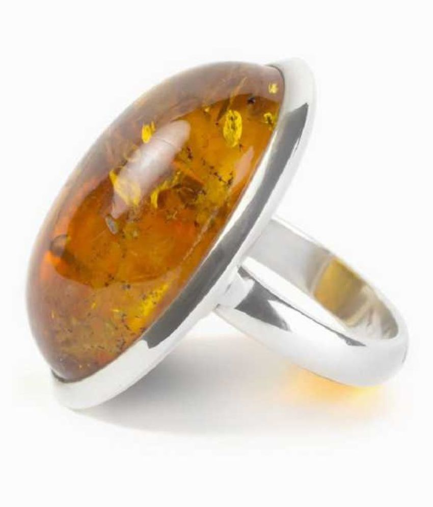 5 ratti Natural Amber Stone Unheated Lab Certified silver RING(Anguthi)by  KUNDLI GEMS\n