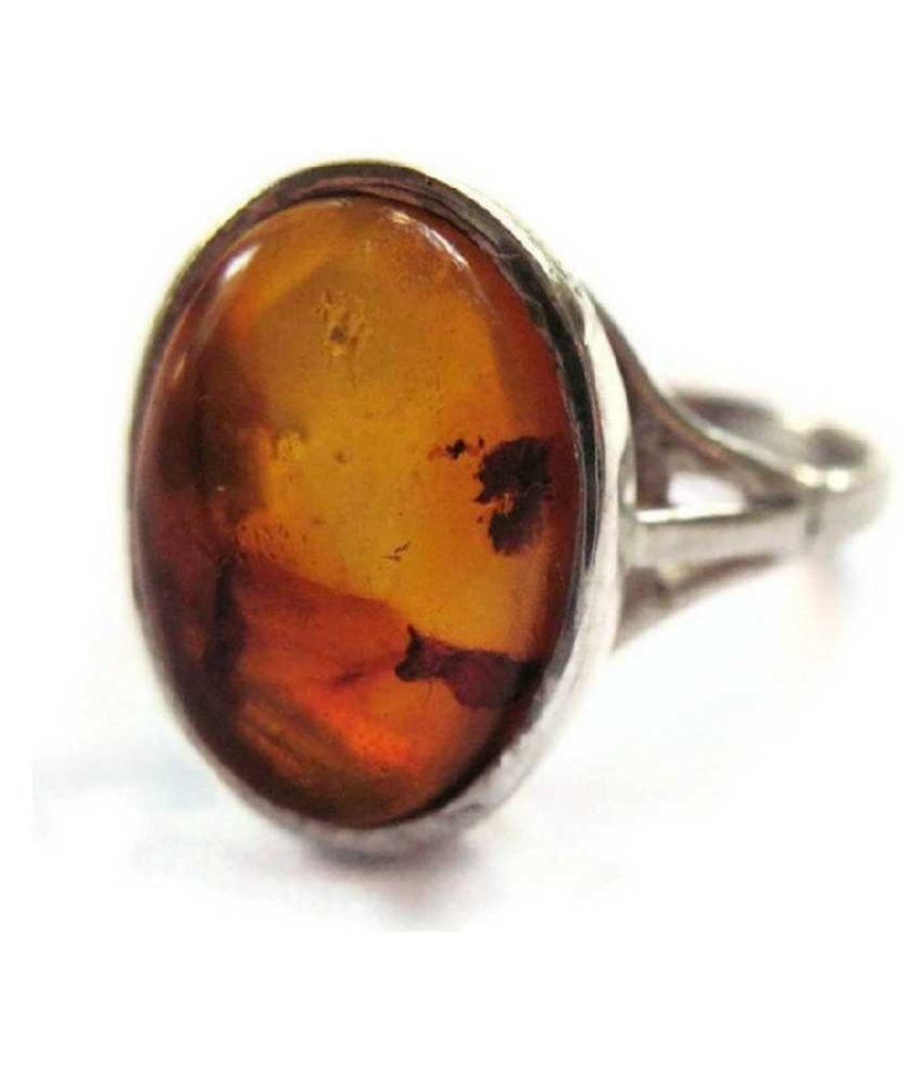 5 ratti Natural Lab certified Stone silver Amber RING(Anguthi)by  KUNDLI GEMS\n