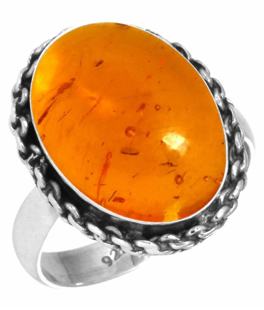 5 ratti silver  Amber RING(Anguthi) for men and women by  KUNDLI GEMS