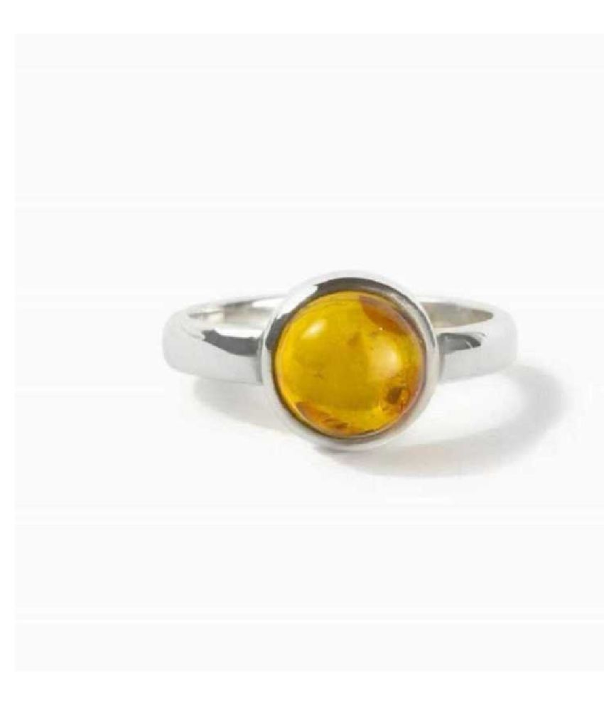 6.5 Ratti Lab Certified Stone 100% Original Amber Silver RING(Anguthi) for unisex by  KUNDLI GEMS\n