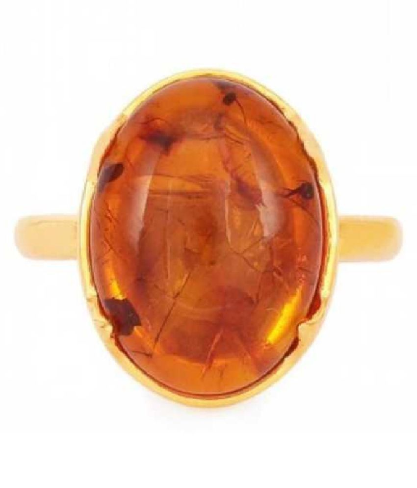 7 Ratti Amber RING(Anguthi) with Natural GOLD PLATED Amber Stone by  KUNDLI GEMS