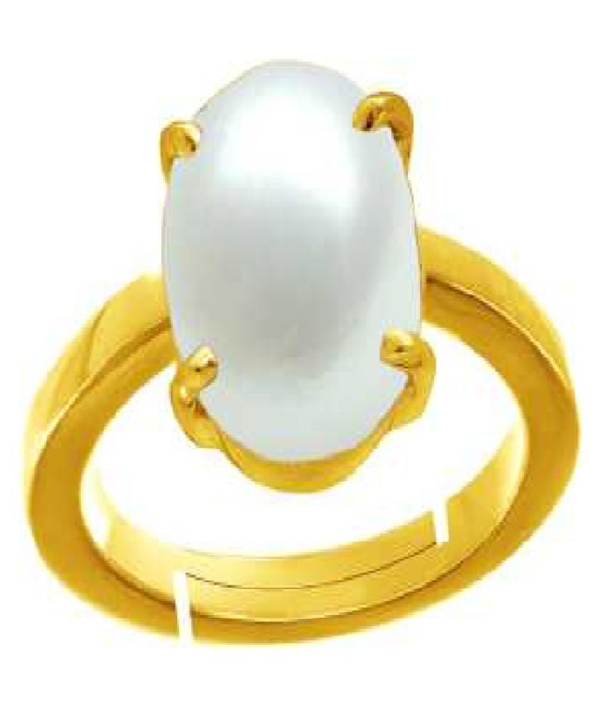 7.5 RATTI  Gold Plated Peral RING(Anguthi) by Ratan Bazaar\n