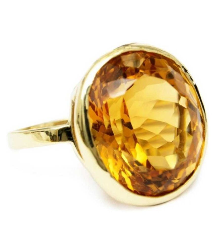 7.5 Ratti  GOLD PLATED Amber Stone RING(Anguthi)by   KUNDLI GEMS