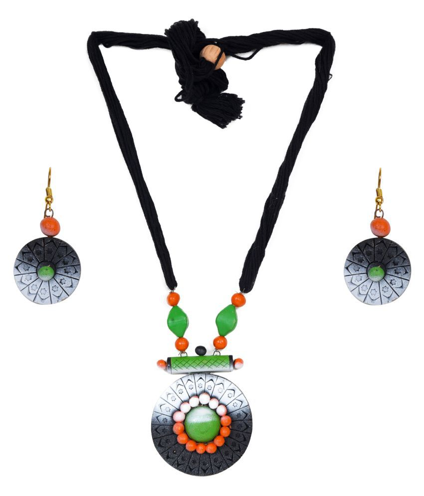 Hawai Terracotta Black Other Designer None Necklaces Set