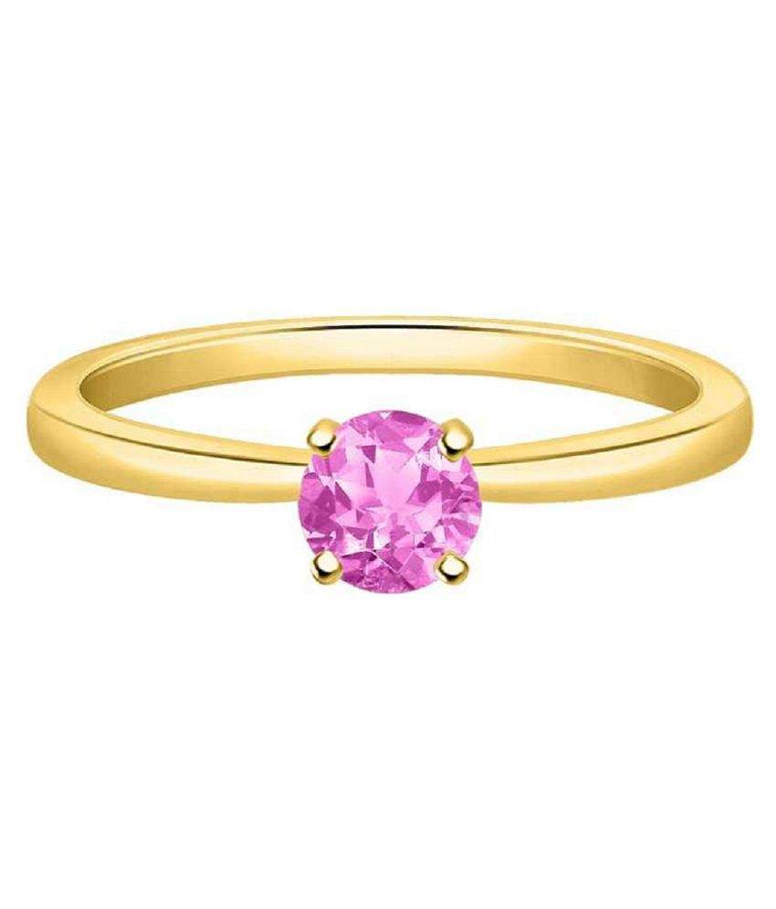5.5 Carat  PINK SAPPHIRE RING(ANGUTHI) with lab Report Gold plated PINK SAPPHIRE  Stone by KUNDLI GEMS