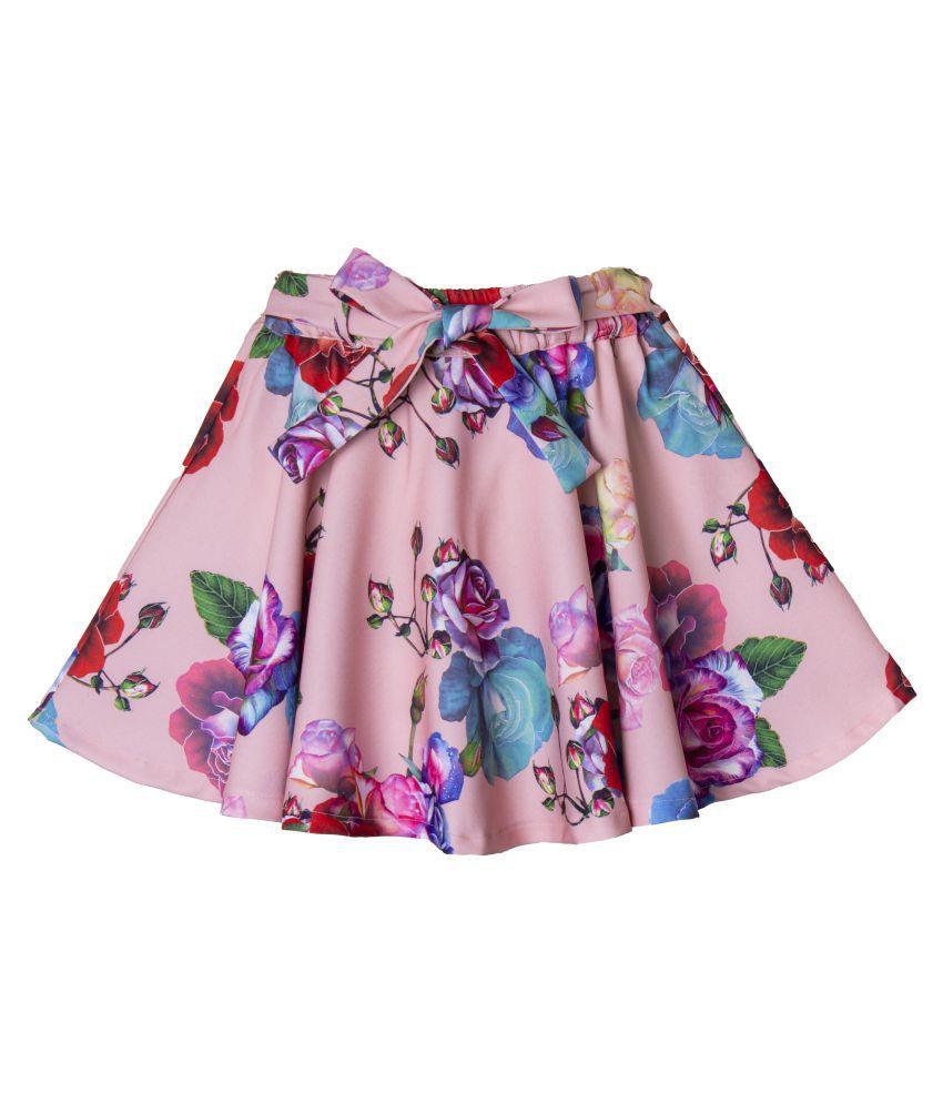 Hunny Bunny Girls Peach Digital Floral Print Skirt
