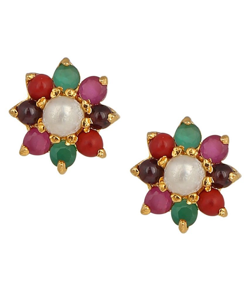 Lab Certified Stone 100% Original NAVRATAN (NAVGRAH) Gold Plated Earring by RATAN BAZAAR\n