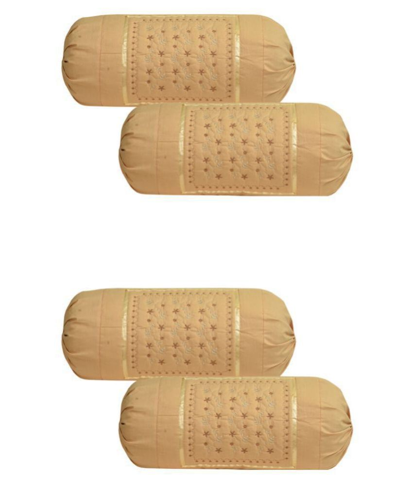 MAHALUXMI COLLECTION Pack of 4 Beige Bolster Cover  Size   16 In X 35 In