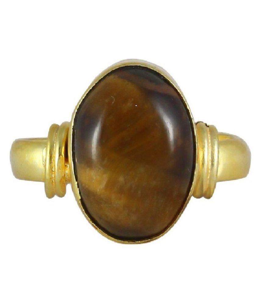 Natural Tiger's Eye 9.25 Carat Gold Plated RING(Anguthi) by  Ratan Bazaar\n