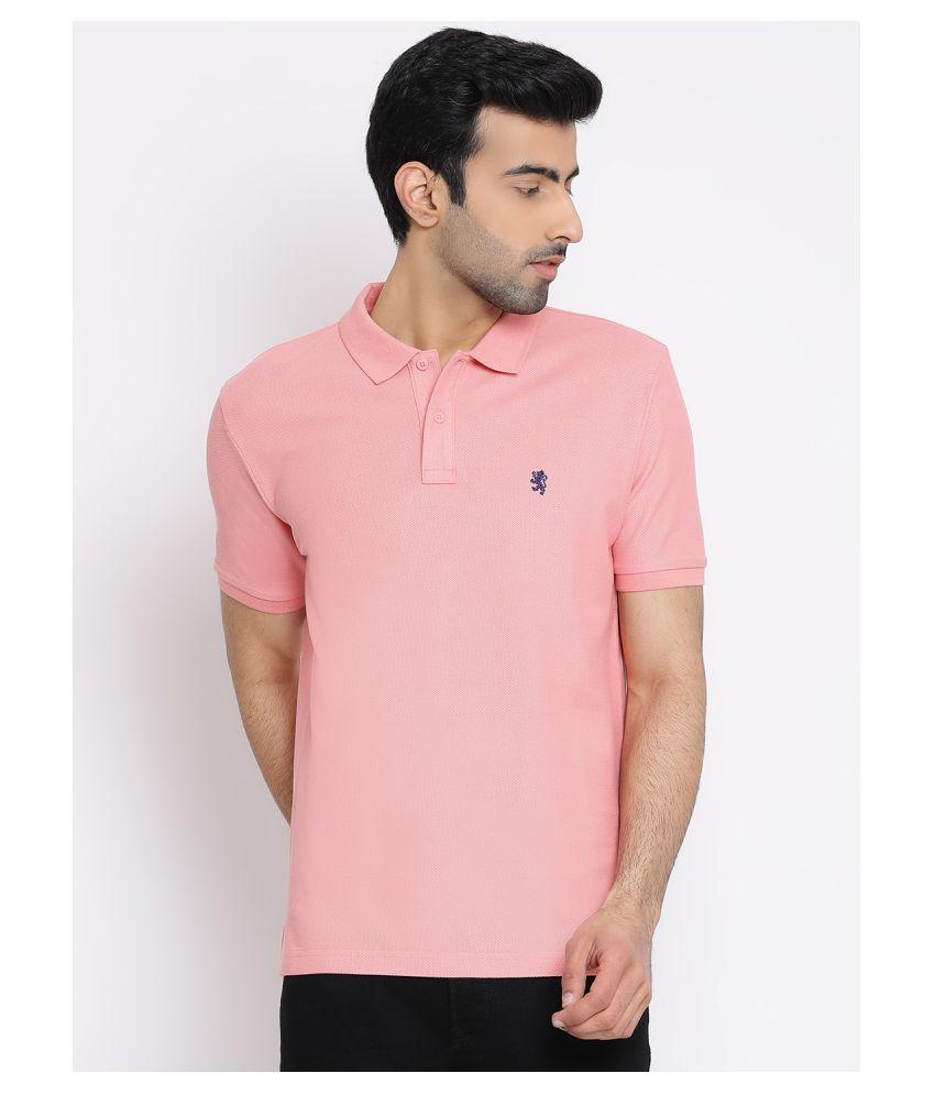 Red Tape 100 Percent Cotton Peach Plain Polo T Shirt