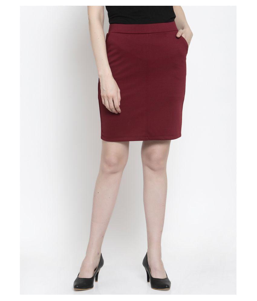 Westwood Cotton Straight Skirt - Maroon
