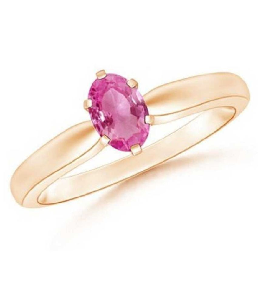 5.5 Ratti PINK SAPPHIRE RING(ANGUTHI) with Natural GOLD PLATED PINK SAPPHIRE  Stone by KUNDLI GEMS