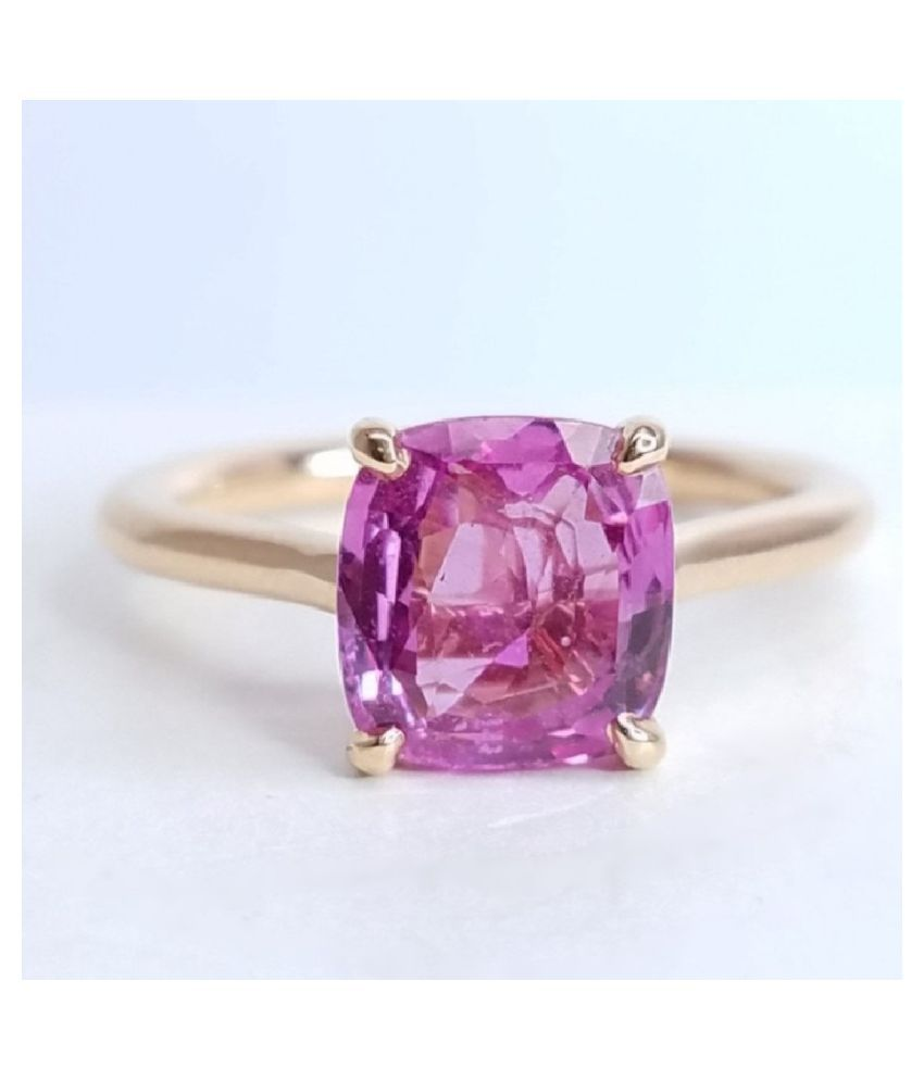 7.5 ratti  GOLD PLATED   PINK SAPPHIRE RING(ANGUTHI) for unisex by KUNDLI GEMS\n