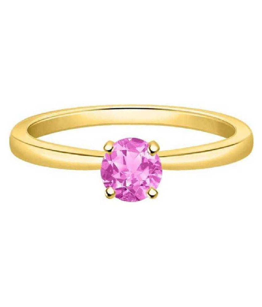 9.5 ratti Natural Lab certified Stone  GOLD PLATED   PINK SAPPHIRE RING(ANGUTHI) by KUNDLI GEMS\n