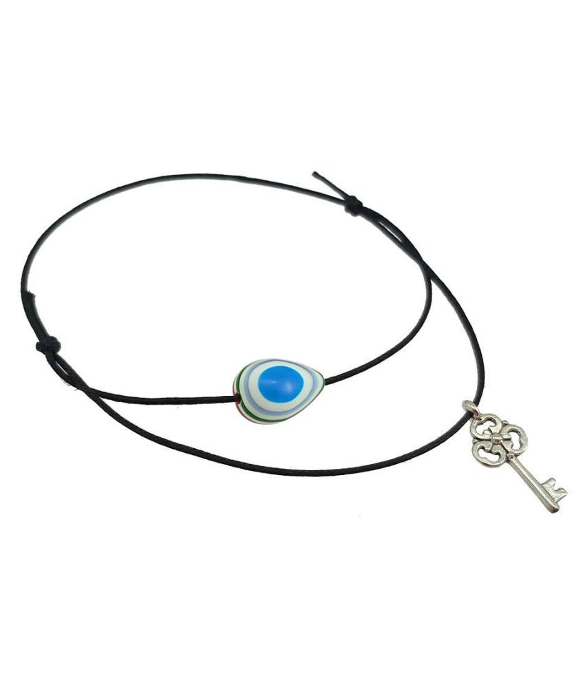 High Trendz Black Thread Adjustable Knot Anklet with Evil Eye And Charm